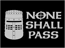 None Shall Pass Decal Black Knight Helmet Monty Python funny vinyl car sticker