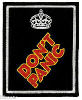 "DONT PANIC EMBROIDERED PATCH 8CM X 10CM (3""X 4"")"