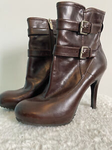 ENZO ANGIOLINI Dark Brown Leather High Heel Booties Women's Size 6.5M