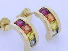 E054- Genuine 9K 9ct Gold NATURAL Fancy Rainbow Multi Sapphire Hoop Earrings