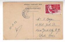 1942 Brazzaville Middle Congo, PPC General deGaulle, Auto Car New York 1Fr Libre