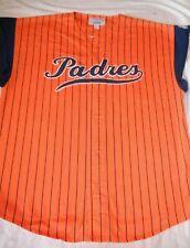SAN DIEGO PADRES STARTER SLEEVELESS  MLB VINTAGE ADULT LARGE PINSTRIPED