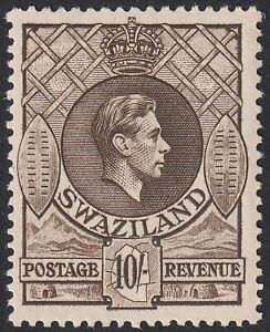 Swaziland 1938 KGVI 10sh Sepia perf 13½x13 Mint SG38 cat £80