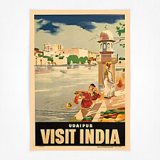 Vintage travel poster-A4-visitez l'inde Udaipur,