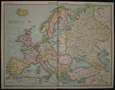 1921 LARGE MAP ~ EUROPE ~ BRITISH ISLES SPAIN ITALY FRANCE SWEDEN NORWAY DENMARK