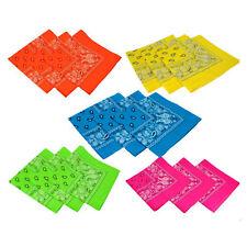 "22"" NEON PAISLEY Cotton Bandana Various Colors Wrap Rave Neck Scarf Kerchief"