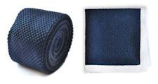 Corbatas, pajaritas y pañuelos de hombre azul de punto