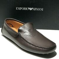 Emporio Armani Mens Brown Leather Loafers Driver's 7.5 40.5 Shoes Casual Fashion