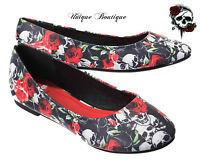 * BANNED SKULL AND ROSES FLAT BALLERINA SHOES GOTHIC PUNK BLACK RED UK 3-8 *