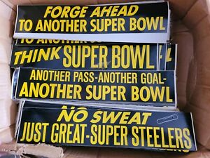 4pc lot Pittsburgh Steelers SuperBowl Champions Vintage Bumper Sticker 1970's