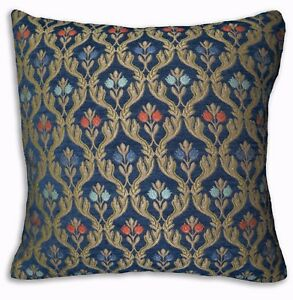 We404a Blue Damask Flower Check Chenille Throw Pillow Case/Cushion Cover*Size