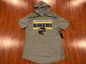 NFL Men's Baltimore Ravens Helmet Short Sleeve Hoodie Jersey Shirt Large L