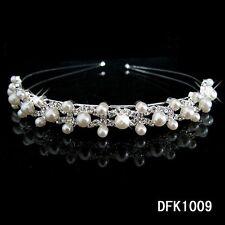Women Girls Flower Crystal Pearl Hair Band Wave Headband Crown