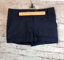 NWT Women's Maurices Size 1/2 Smart Short Navy Blue Lace Cuffed Cotton Stretch