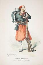 ARMEE FRANCAISE-ZOUAVE TENUE MAOEUVRES DUMARESQ GRAVURE COULEURS 1890-R920