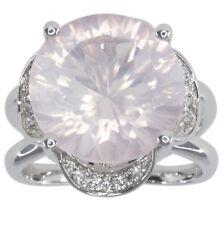 Rose Quartz Round Gemstone and White Topaz Sterling Silver Ring size O