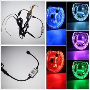 Bluetooth Remote Control RGB LED Demon Eye Halo Ring: Headlight Projector Lens