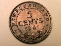 1941-C Canada Newfoundland 5 Cent Ch AU Lustrous Orig WWII Silver Half Dime Coin