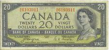 Bank of Canada 1954 $20 Twenty Dollars Devil's Face Portrait B/E Prefix Fine
