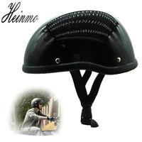 Black Motorcycle Half Helmet Skull Cap Hat For Harley Chopper Bobber Biker L XL
