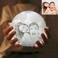 3D Printed Custom Photo Personalized Moon Night light Lamp Christmas Gift