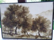 Important TABLEAU-Composition-Acrylique-Monserrate- Paysage -arbres