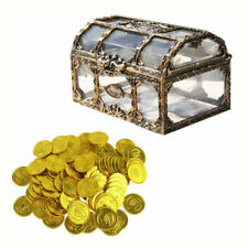 1pc Pirate Box Keepsake Treasure Box Organizer with 100 Gold Coins for Kids