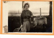 Real Photo Postcard RPPC - Woman with Bonnet and Pet Lamb