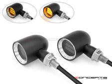 Aluminium LED Motorcycle Indicators w/ running Lights - Black/Brass - Smoked len