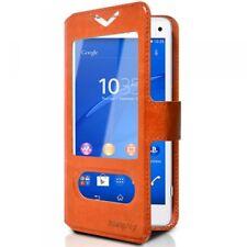 Housse Coque Etui S-view Universel S Couleur Orange pour Sony Xperia Z3 Compact