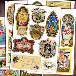Vintage Perfume Bottle & Toiletries Labels - 40 DIY Decoupage retro STICKERS