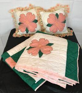Vintage Dogwood Quilt Appliqué Handmade Green Peach /2 Throw Pillows 89 x72 F
