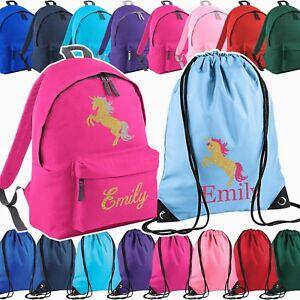 Personalised School Bag , Vinyl Rucksack, Backpack, PE Bag, Kit Bag | Unicorn