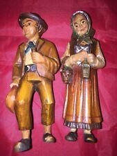 Vintage  Hand Carved Wood Old Man/Woman Figurine statues set of 2