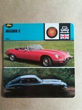 Fiche Auto Card 12 x 12,5 cm - JAGUAR TYPE E 1961 - GRANDE BRETAGNE