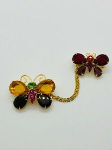 Joan Rivers Crystal Multi Color Stone Double Butterfly Brooches w/ Chain