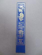 BOOKMARK LEATHER Wild Flowers of England English Dog Rose Primrose Violet Blue