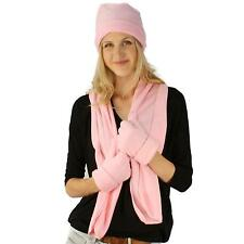 Ladies Microfleece 3pc Winter Beanie Skull Hat Cap w Scarf Gloves Set Pink M