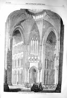 Original Old Antique Print 1856 Ely Cathedral Octagon Choir Architecture 19th