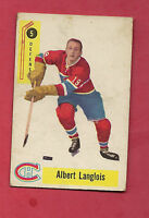 1958-59 PARKHURST # 5 CANADIENS ALBERT LANGLOIS ROOKIE CARD