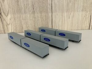 """GRAFAR N Gauge FORD Container Wagons x 6 on Grafar Beds 2.5"""""""