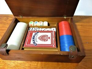 VERY NICE VINTAGE WOOD BOX WITH POKER CHIPS AND CARDS DICE