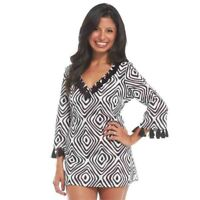 Mud Pie Kendall Tassel Tunic Black Native Diamond, Medium, Swimsuit Cover-up NEW