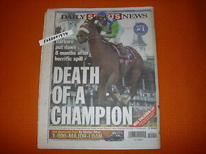 Rare DEATH OF BARBARO NY DAILY NEWS COMPLETE UNREAD NEWSPAPER PHOTOS & STORIES