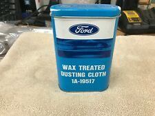 Ford Autolite wax treated dusting cloth in blue & white can tin GT 1A-19517 Nice