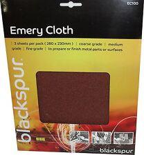 Emery Cloths - 3 Sheet Pack  Each 23cm x 28cm