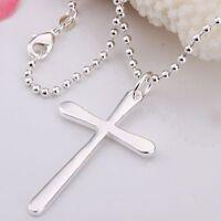 ASAMO Damen Herren Halskette Kreuz Anhänger Sterling Silber plattiert Kreuzkette