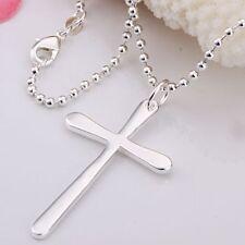 Damen Herren Halskette Kreuz Anhänger 925 Sterling Silber plattiert Kreuzkette