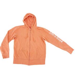 Life is Good Womens Hooded Sweatshirt Zipper Front Size Small Peach Full Zip