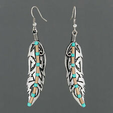 Silver Finish Metal Aztec Indie Feather Design Drop Dangle Style Earrings